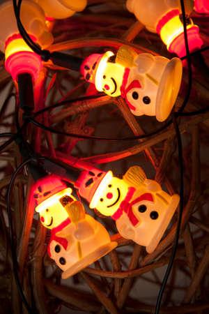 snow man: snow man lighting bulbs, Christmas decoration