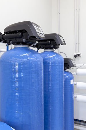 regulator: industrial bottles with regulator with a pressure gauge Stock Photo