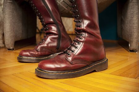 women in boots: brown women boots close up Stock Photo