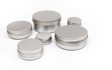aluminium: silver metal containers for cosmetics isolated on white Stock Photo