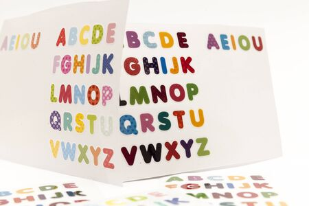 all caps: all the letters of the alphabet, colorful stickers Stock Photo
