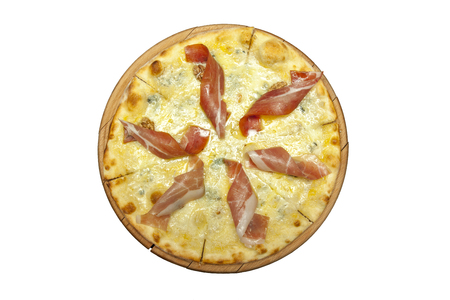 pizza base: pizza with prosciutto on a wooden base Stock Photo