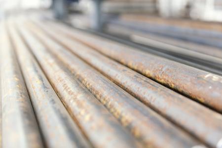 veiw: metal pipes on shelf, perspective veiw Stock Photo
