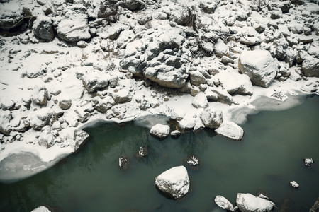 frozen river: frozen river and ice, winter background