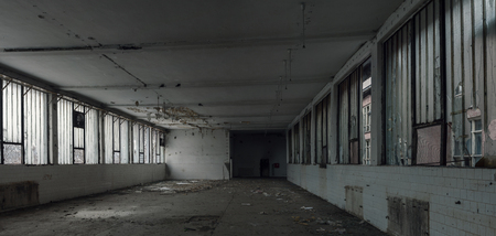 abandoned warehouse: old abandoned ruin warehouse , empty space Stock Photo