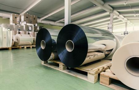 aluminum: large rolls of aluminum foil in the warehouse