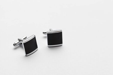 silver cufflinks on white background, close up Stock Photo