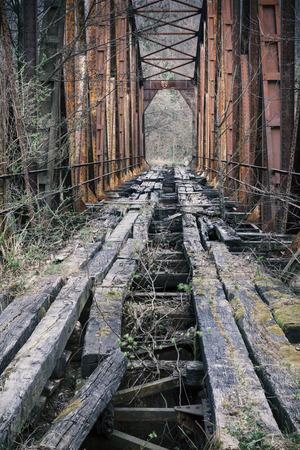 rusty old iron railway bridge  Stock Photo
