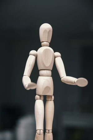 wooden art doll drawing, close up Stock Photo