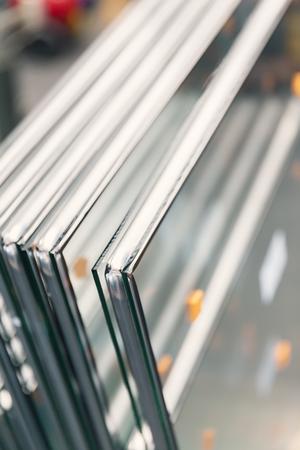 making double-layer glass windows, close up Archivio Fotografico