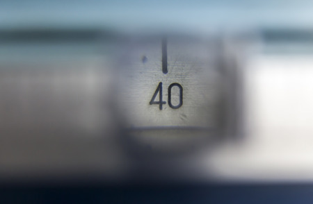 number 36: number 36 on the measuring instrument through a magnifying glass