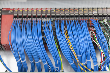 control panel, cable assemblies, close up