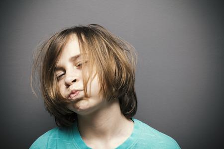portrait of a worried boy, copy space