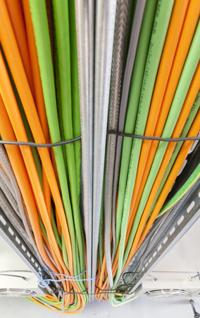 power cable system, close up Archivio Fotografico