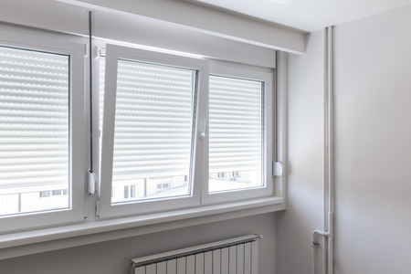 PVC window in white room Stock Photo