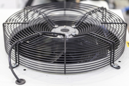 industrial fan on cooling unit, close up