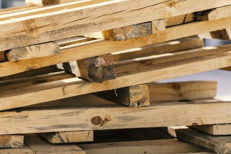 wooden palets on stack, close up Banco de Imagens