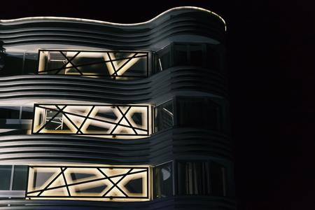 暗闇の中の抽象的な led 照明シーン 写真素材