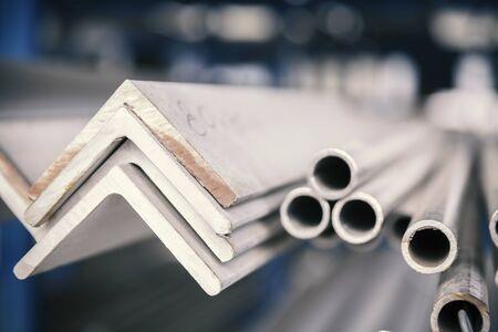 metal inox pipe on stack, close up Reklamní fotografie