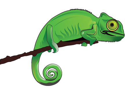Chameleon sitting on tree Stock Illustratie