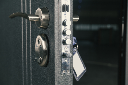 safety lock door, close up Stok Fotoğraf - 92158826