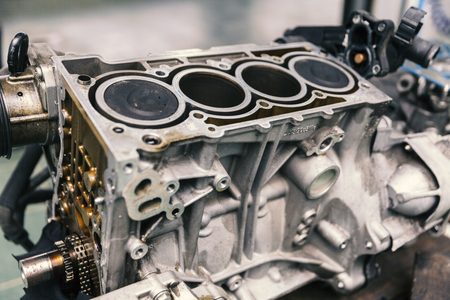 Car engine on service, close up