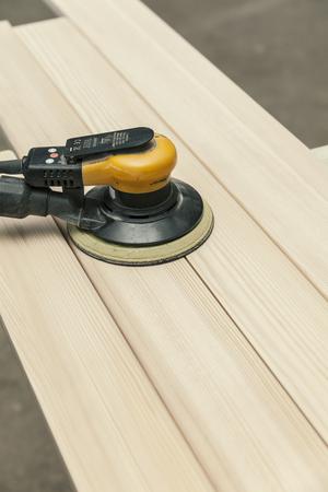 wood working machine, making a wooden window 스톡 콘텐츠