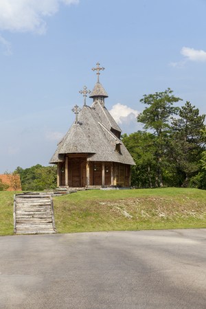Orthodox wooden church in the village