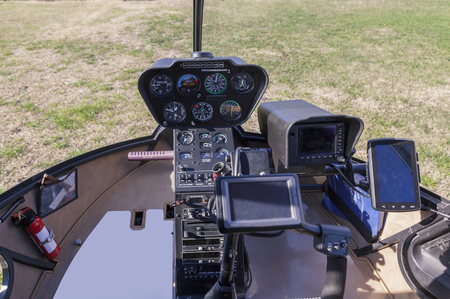 helicopter cockpit on ground, close up Фото со стока