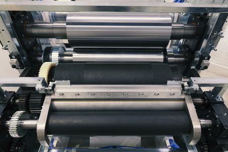 mechanism and rollers machines for flexo press Stock Photo