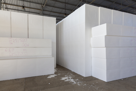 large blocks of polystyrene in a warehouse, abstract background scene Imagens