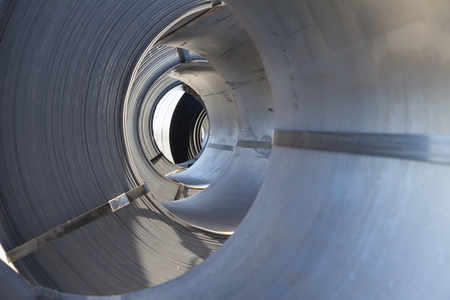 rolls of industrial sheet metal, manufacturing background 版權商用圖片