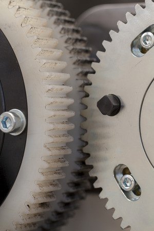 metal and plastic gears, close up Imagens