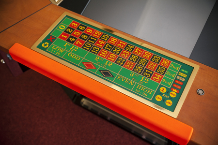 electronic roulette console in casino, close up