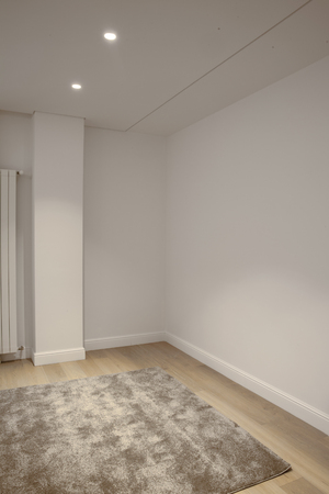 empty room with carpet, copy space Stock Photo