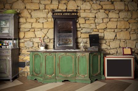 renovated antique cupboard indoor, close up Stockfoto