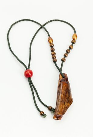 hand made necklace, made of wood and rope 스톡 콘텐츠
