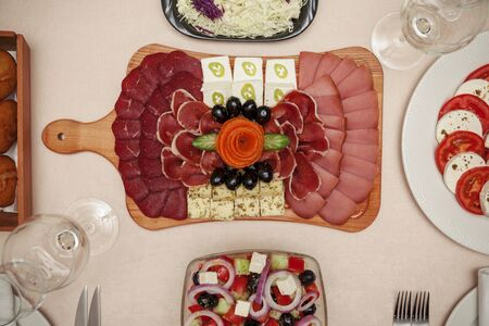 appetizer on the table served for four, top view