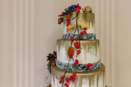 cake with marzipan decorations, close up