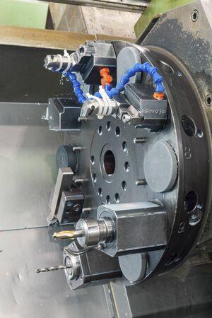 multi-tool metalworking lathe, close up Imagens