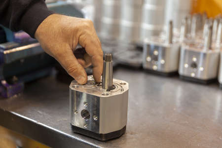 hydraulic pump in service, close up Standard-Bild