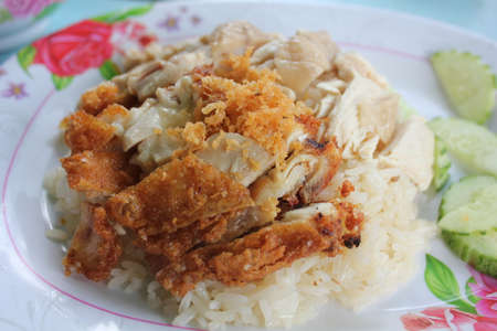 boned: boned sliced Hainan-style chicken with marinated rice