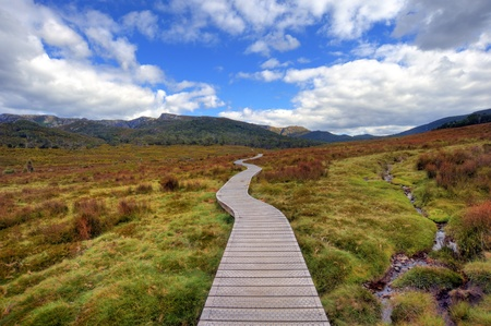 tasmania: Long & Winding Track at Cradle Mountain; Tasmania Stock Photo