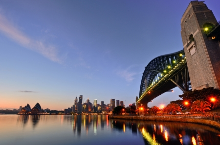 sydney harbour bridge: Sunrise at Sydney Harbour Bridge and Opera House