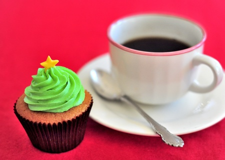 Christmas Cup Cake and Coffee photo