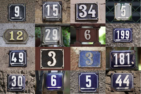 House numbers in different styles and colors  concept for real estate  Stock Photo