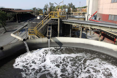recycle area: Water treatment plant with dirty sludge Stock Photo
