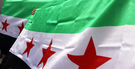 syrian: Waving hand Syrian flags