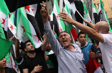 protestor: Waving hand Syrian flags