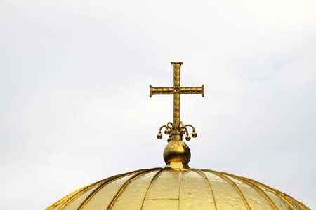 gold cross: Alexander Nevsky Orthodox church, gold cross,